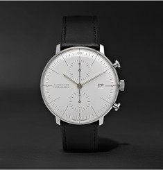 Junghans - Max Bill Chronoscope 40mm Stainless Steel and Leather Watch