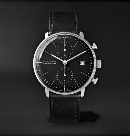Max Bill Chronoscope 40mm Stainless Steel And Leather Watch - Black