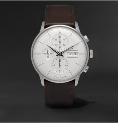 Junghans - Meister Chronoscope 40mm Stainless Steel and Leather Watch