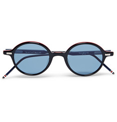 Thom Browne Round-Frame Striped Acetate Sunglasses