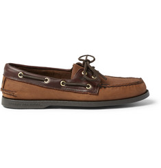 Sperry Top-Sider Leather-Trimmed Nubuck Boat Shoes