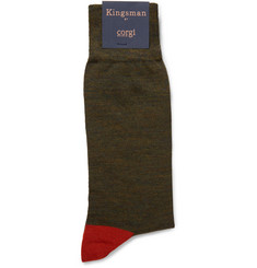 Kingsman Colour-Block Wool-Blend Socks