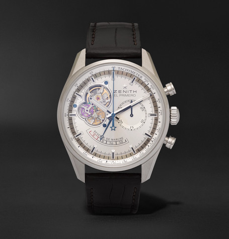 El Primero Chronomaster 42mm Stainless Steel And Alligator Watch - Silver