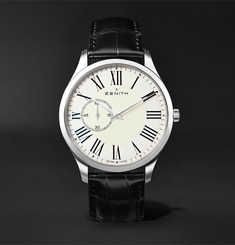 Zenith Elite Ultra-Thin Roman Dial Stainless Steel and Alligator Watch