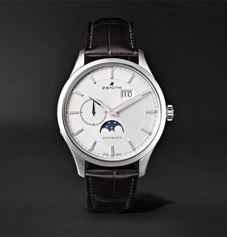 Elite Moonphase 40mm Stainless Steel And Alligator Watch - White
