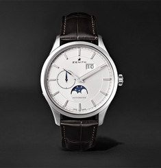 Zenith - Elite Moonphase 40mm Stainless Steel and Alligator Watch