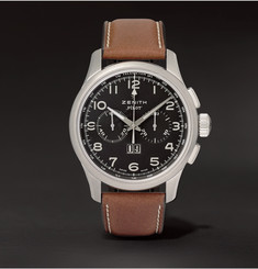 Zenith - Pilot Stainless Steel and Leather Watch