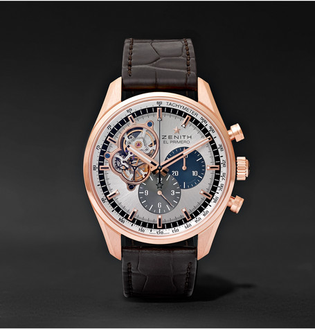 El Primero Chronomaster 42mm 1969 Rose Gold And Alligator Watch - Silver