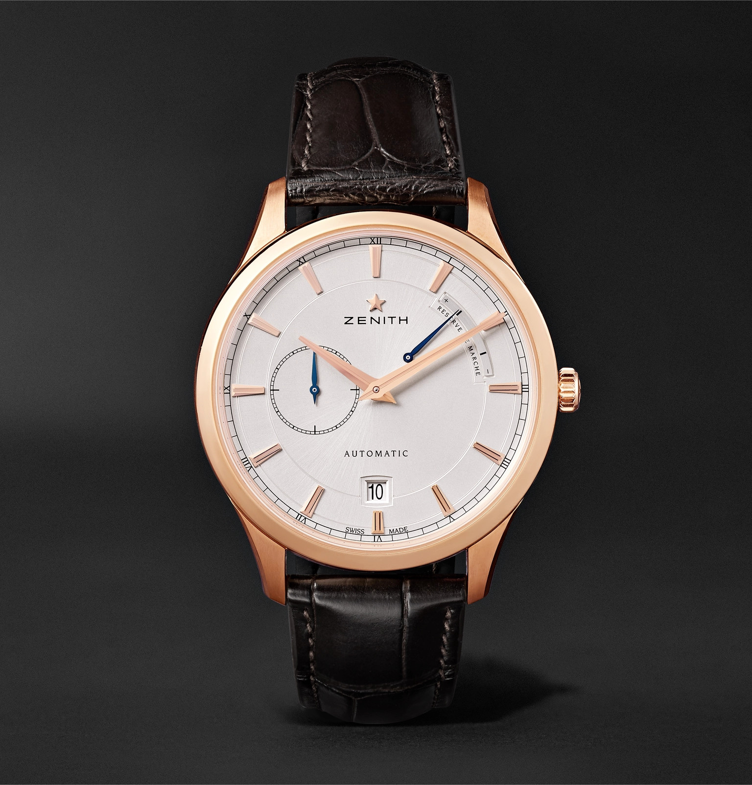 35dc2b9a78c Zenith - Power Reserve 40mm 18-Karat Rose Gold and Alligator Watch