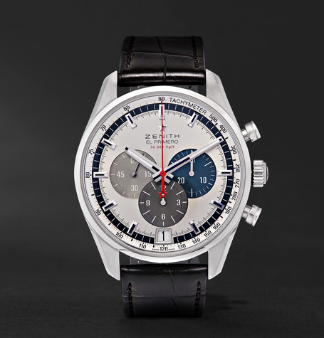 El Primero 42mm Stainless Steel And Alligator Watch - Silver