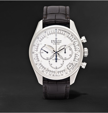 El Primero 42mm Stainless Steel And Alligator Watch - White
