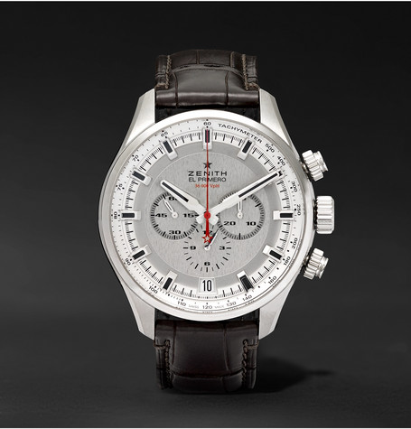 El Primero Sport 45mm Stainless Steel And Alligator Watch - Silver