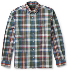 Beams Plus Slim-Fit Plaid Cotton and Linen-Blend Shirt