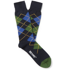 Beams Plus Argyle Cotton-Blend Socks