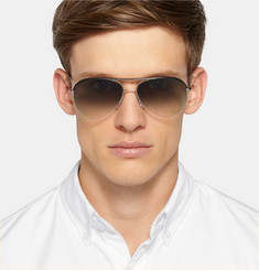Cutler and Gross Aviator-Style Leather and Metal Sunglasses