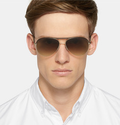 Cutler and Gross Aviator-Style Leather-Trimmed Acetate Sunglasses