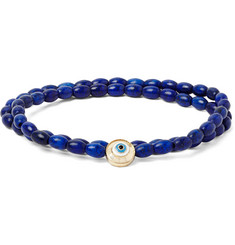 Luis Morais Evil Eye Gold and Glass Bead Double-Wrap Bracelet