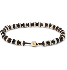 Luis Morais Gold Skull and Glass Bead Bracelet