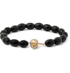 Luis Morais Skull-Clasp Gold and and Glass Bead Bracelet