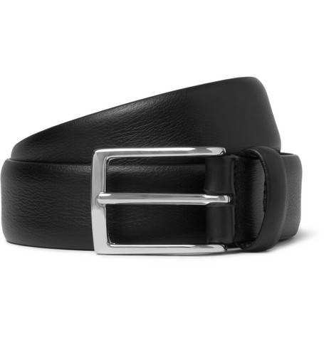 3cm Black Leather Belt by Anderson's
