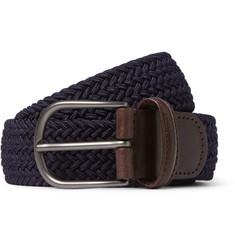 Anderson's - 3.5cm Midnight-Blue Woven Waxed-Cord Belt