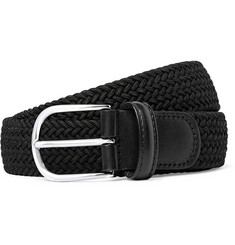 Anderson's 3.5cm Black Leather-Trimmed Woven Elasticated Belt