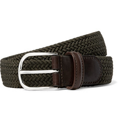 Anderson's - 3.5cm Dark-Green Leather-Trimmed Woven Elasticated Belt