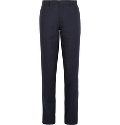 Club Monaco Blue Grant Puppytooth Linen Suit Trousers