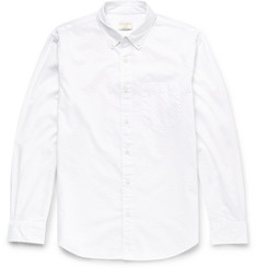 Club Monaco Slim-Fit Button-Down Collar Pin-Dot Cotton Shirt