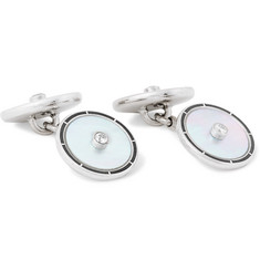 Deakin & Francis 18-Karat White Gold, Mother-of-Pearl and Diamond Cufflinks