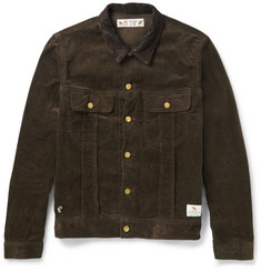 Neighborhood - Slim-Fit Leather-Trimmed Cotton-Corduroy Jacket