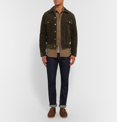 Neighborhood Slim-Fit Leather-Trimmed Cotton-Corduroy Jacket