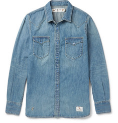 Neighborhood - Slim-Fit Washed-Denim Western Shirt