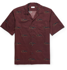 Dries Van Noten Camp-Collar Lobster-Print Cotton Shirt