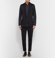 Dries Van Noten Black Inside Out Slim-Fit Panelled Wool-Satin Blazer