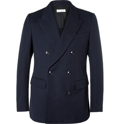 Dries Van Noten - Navy Benz Slim-Fit Double-Breasted Cotton-Piqué Blazer