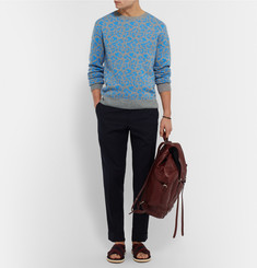 Dries Van Noten Jesper Slim-Fit Leopard-Intarsia Cashmere and Wool-Blend Sweater