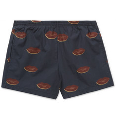 Dries Van Noten Phibbs Lip-Print Short-Length Cotton Swim Shorts