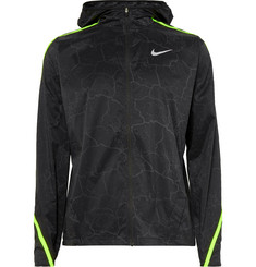Nike Running - Impossibly Light Hooded Crackled-Printed Ripstop Shell Jacket