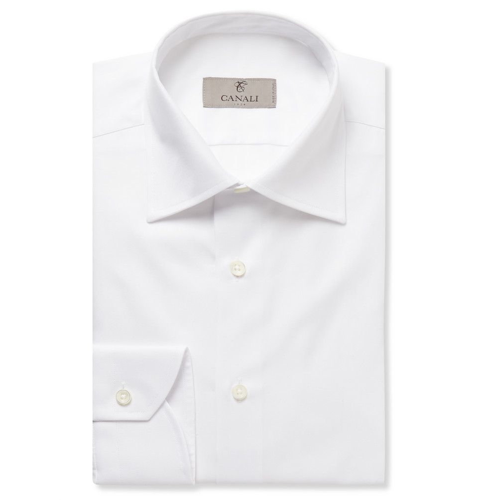 Canali White Slim-Fit Cotton-Twill Shirt