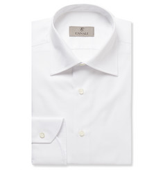 Canali - White Slim-Fit Cotton-Twill Shirt