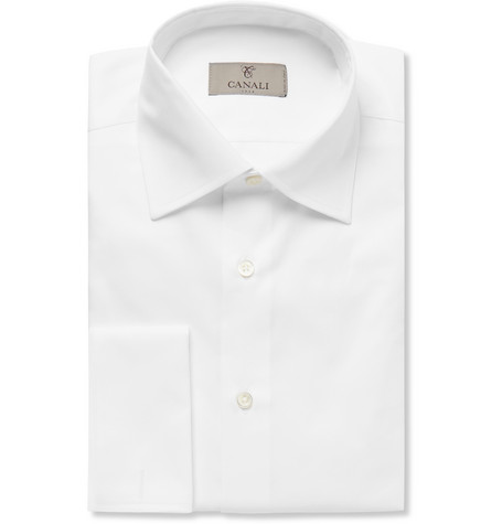 White Slim-fit Double-cuff Cotton-twill Shirt - White