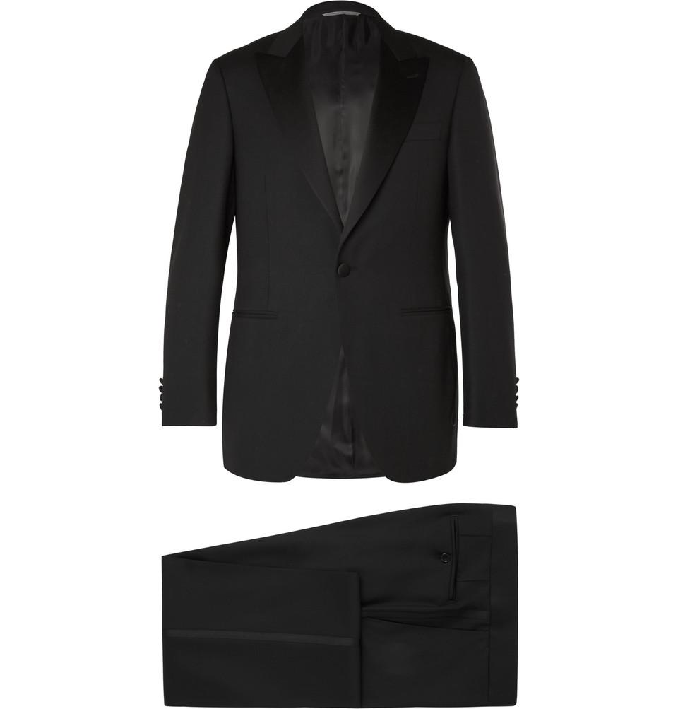 Black Slim-fit Satin-trimmed Wool Tuxedo - Black