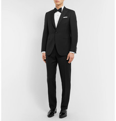 Canali - Black Slim-Fit Satin-Trimmed Wool Tuxedo