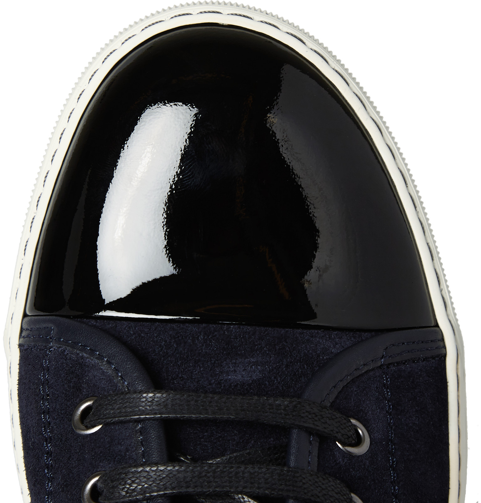 Toe Patent And Suede Sneakers Cap Leather Lanvin wCaqnT5f