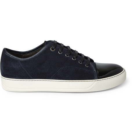 54e20a86bf7d Lanvin - Cap-Toe Suede and Patent-Leather Sneakers