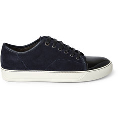 Lanvin Cap-Toe Suede and Patent-Leather Sneakers
