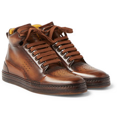 Berluti - Playtime Burnished-Leather High-Top Sneakers