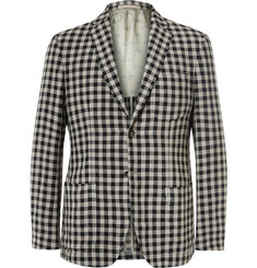 Massimo Alba Slim-Fit Gingham Linen Blazer