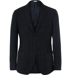 Massimo Alba Navy Slim-Fit Gingham Linen Blazer